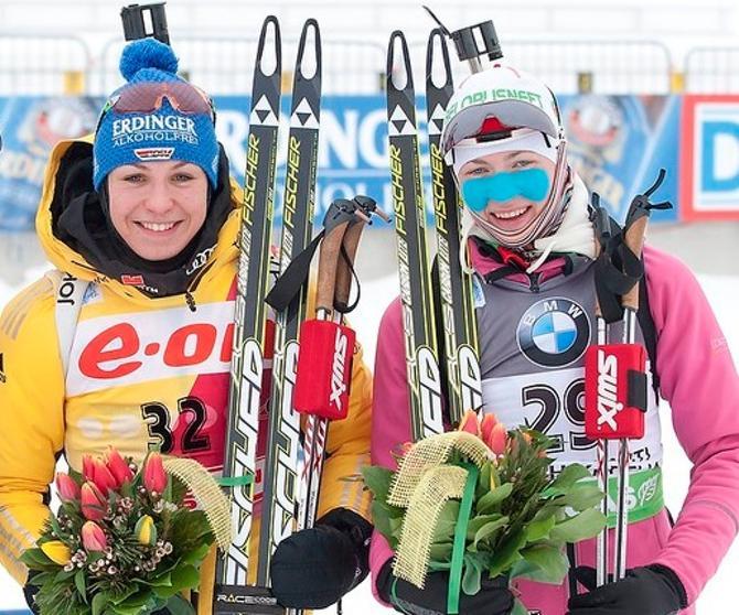 Два лидера сезона - Магдалена Нойнер и Дарья Домрачева.