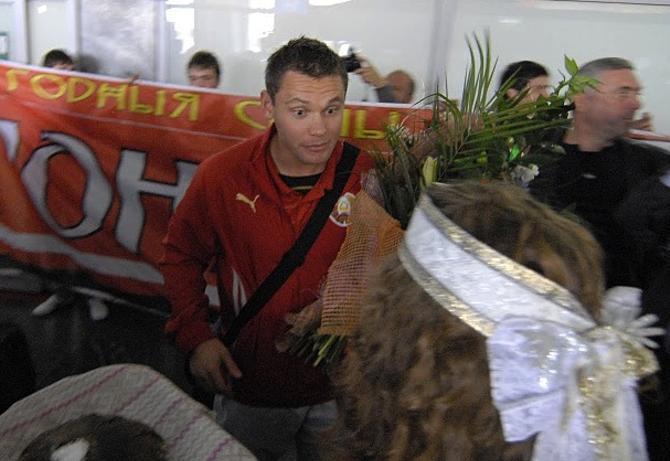 Юрий Жевнов удивился тому, что сборную Беларуси так встречали на родине.