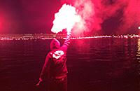 Огненный перфоманс фанатов «Зенита»