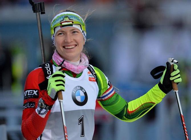 Во всех трех гонках в Оберхофе Дарья Домрачева была на пьедестале.