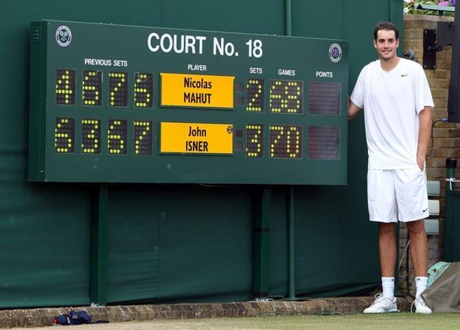 Джон Изнер на фоне рекордного в истории тенниса счета.