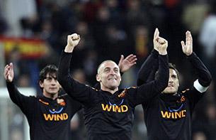 Футболисты «Ромы» празднуют успех