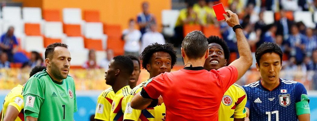Колумбия проиграла Японии, оставшись в меньшинстве на 3-й минуте